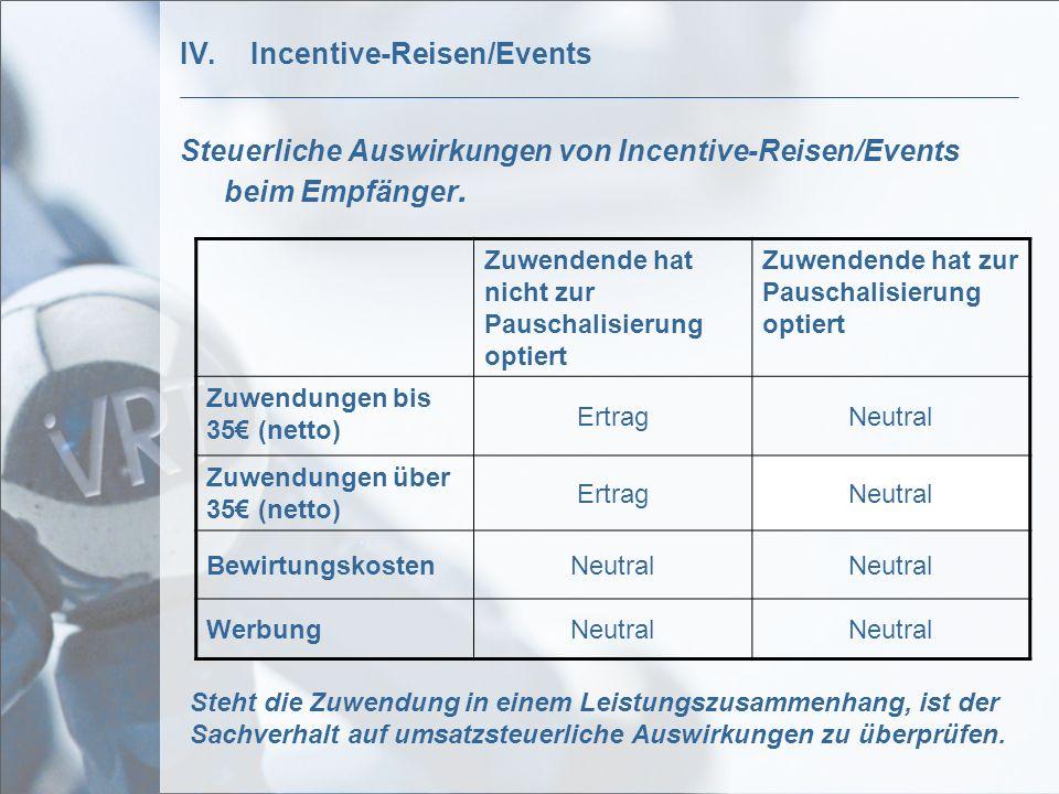 IV.Incentive-Reisen/Events Steuerliche Auswirkungen von Incentive-Reisen/Events beim Empfänger. Zuwendende hat nicht zur Pauschalisierung optiert Zuwe