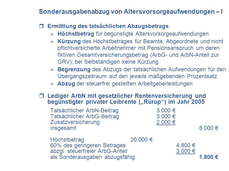 Sonderausgabenabzug von Altersvorsorgeaufwendungen – I Ermittlung des tatsächlichen Abzugsbetrags Höchstbetrag für begünstigte Altersvorsorgeaufwendungen Kürzung des Höchstbetrages für Beamte, Abgeordnete und nicht pflichtversicherte Arbeitnehmer mit Pensionsanspruch um deren fiktiven Gesamtversicherungsbetrag (ArbG- und ArbN-Anteil zur GRV); bei Selbständigen keine Kürzung Begrenzung des Abzugs der tatsächlichen Aufwendungen für den Übergangszeitraum auf den jeweils maßgebenden Prozentsatz Abzug der steuerfrei gestellten Arbeitgeberleistungen Lediger ArbN mit gesetzlicher Rentenversicherung und begünstigter privater Leibrente (Rürup) im Jahr 2005 Tatsächlicher ArbN-Beitrag 3.000 Tatsächlicher ArbG-Beitrag 3.000 Zusatzversicherung 2.000 insgesamt 8.000 Höchstbetrag20.000 60% des geringeren Betrages4.800 abzgl.