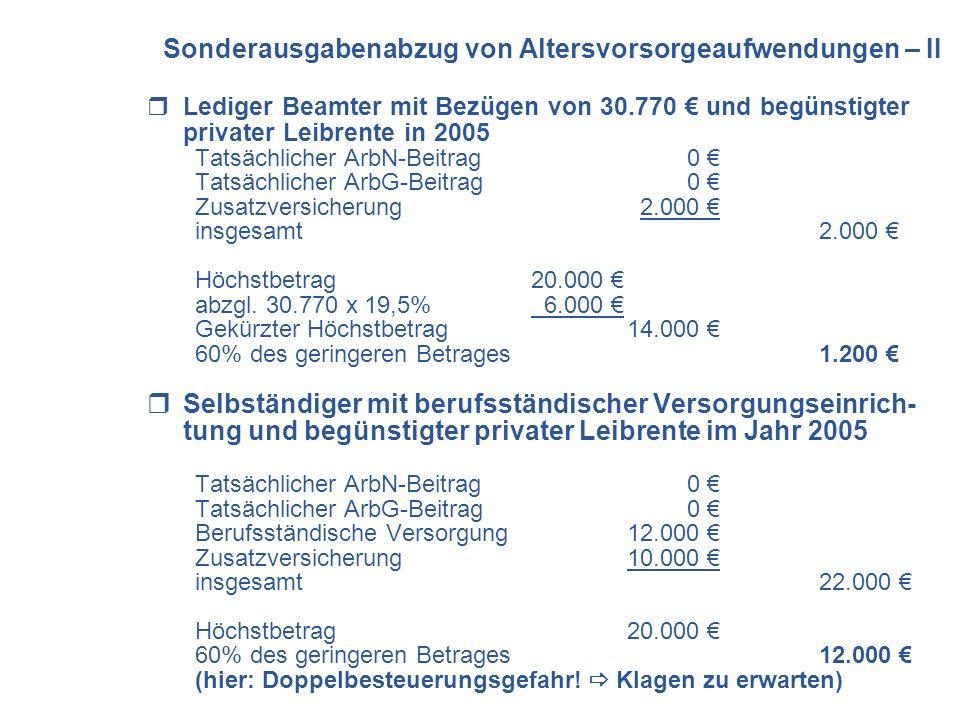 Lediger Beamter mit Bezügen von 30.770 und begünstigter privater Leibrente in 2005 Tatsächlicher ArbN-Beitrag 0 Tatsächlicher ArbG-Beitrag 0 Zusatzver