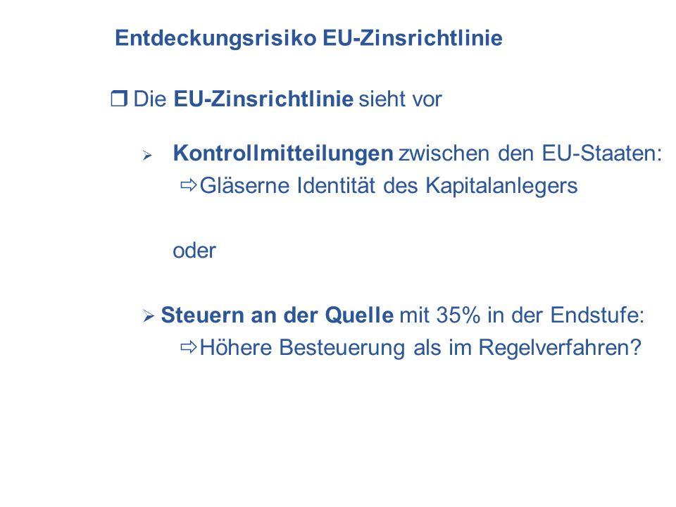 Entdeckungsrisiko EU-Zinsrichtlinie Die EU-Zinsrichtlinie sieht vor Kontrollmitteilungen zwischen den EU-Staaten: Gläserne Identität des Kapitalanlegers oder Steuern an der Quelle mit 35% in der Endstufe: Höhere Besteuerung als im Regelverfahren?