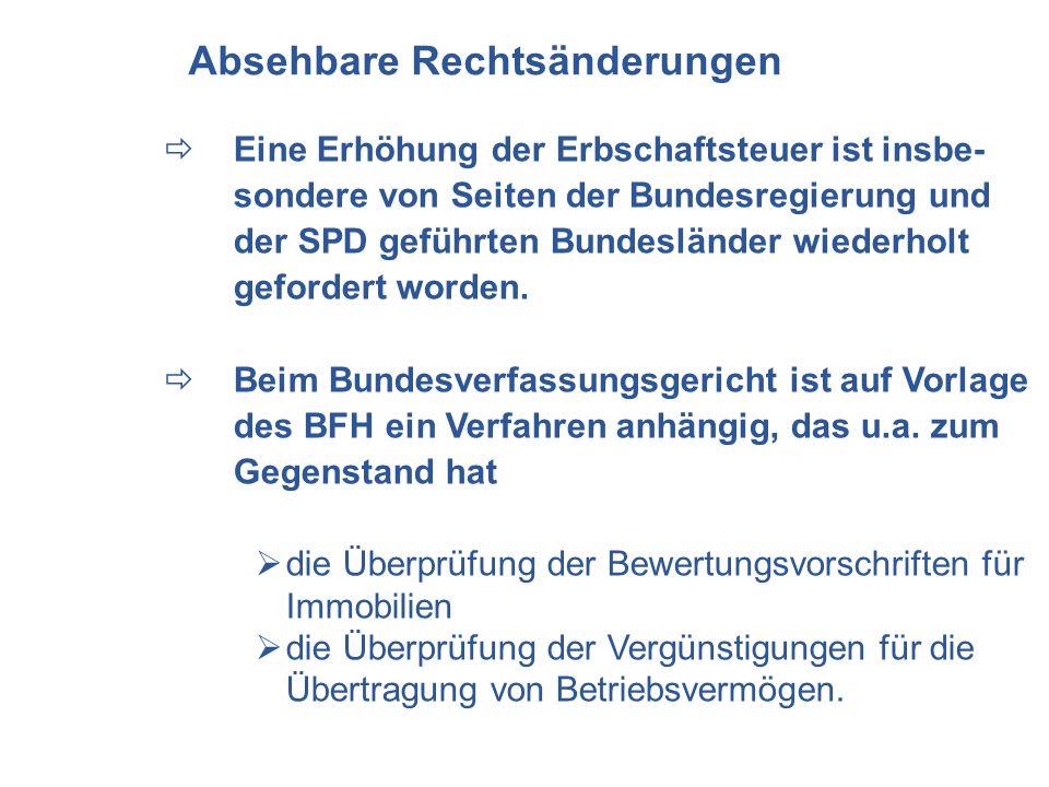 Eine Erhöhung der Erbschaftsteuer ist insbe- sondere von Seiten der Bundesregierung und der SPD geführten Bundesländer wiederholt gefordert worden. Be