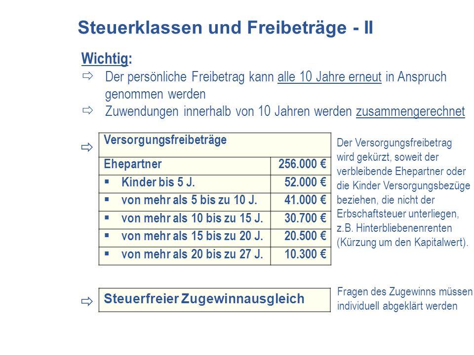 Versorgungsfreibeträge Ehepartner256.000 Kinder bis 5 J.52.000 von mehr als 5 bis zu 10 J.41.000 von mehr als 10 bis zu 15 J.30.700 von mehr als 15 bi