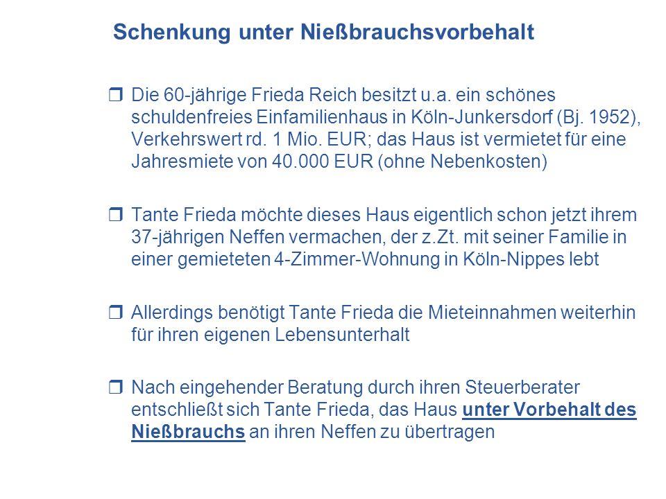 Schenkung unter Nießbrauchsvorbehalt Die 60-jährige Frieda Reich besitzt u.a. ein schönes schuldenfreies Einfamilienhaus in Köln-Junkersdorf (Bj. 1952