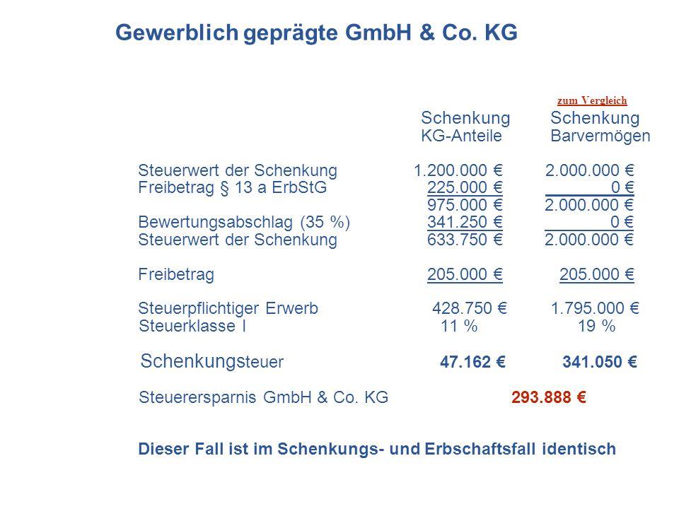 zum Vergleich Schenkung Schenkung KG-Anteile Barvermögen Steuerwert der Schenkung 1.200.000 2.000.000 Freibetrag § 13 a ErbStG 225.000 0 975.000 2.000