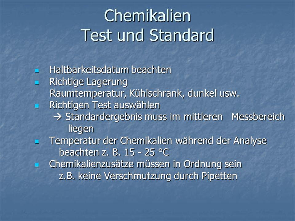 Chemikalien Test und Standard Haltbarkeitsdatum beachten Haltbarkeitsdatum beachten Richtige Lagerung Richtige Lagerung Raumtemperatur, Kühlschrank, d