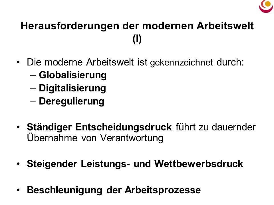 Herausforderungen der modernen Arbeitswelt (I) Die moderne Arbeitswelt ist gekennzeichnet durch: –Globalisierung –Digitalisierung –Deregulierung Ständ
