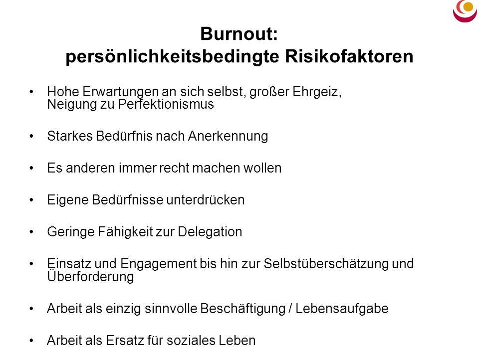 Burnout: persönlichkeitsbedingte Risikofaktoren Hohe Erwartungen an sich selbst, großer Ehrgeiz, Neigung zu Perfektionismus Starkes Bedürfnis nach Ane