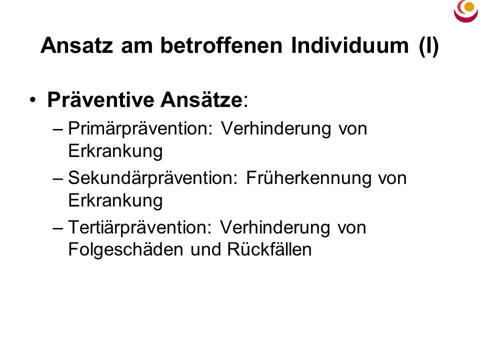 Ansatz am betroffenen Individuum (I) Präventive Ansätze: –Primärprävention: Verhinderung von Erkrankung –Sekundärprävention: Früherkennung von Erkrank