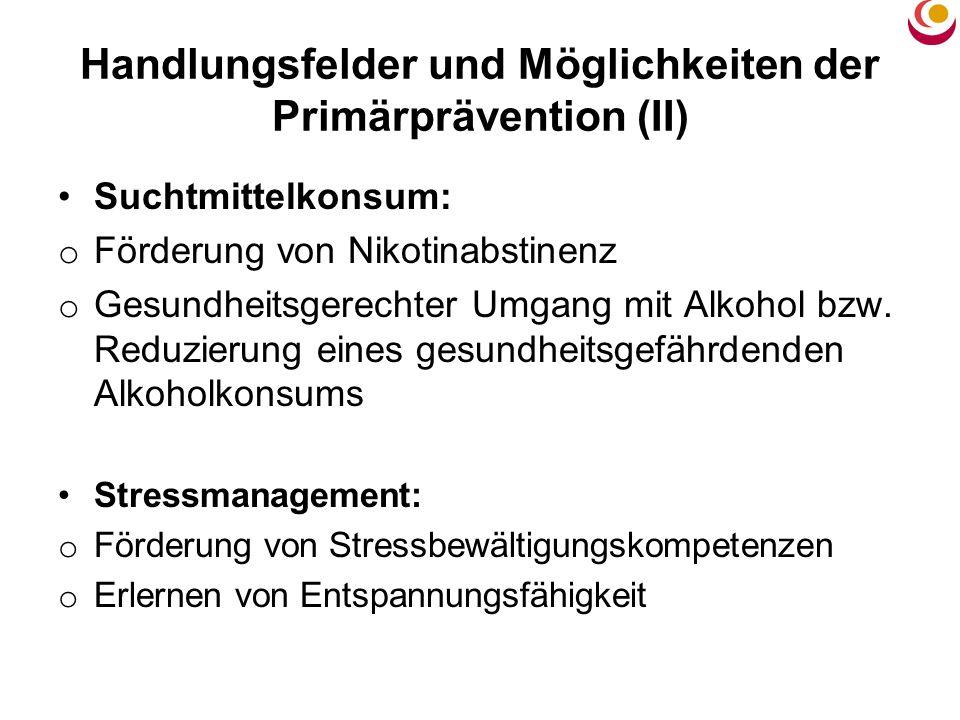 Handlungsfelder und Möglichkeiten der Primärprävention (II) Suchtmittelkonsum: o Förderung von Nikotinabstinenz o Gesundheitsgerechter Umgang mit Alko