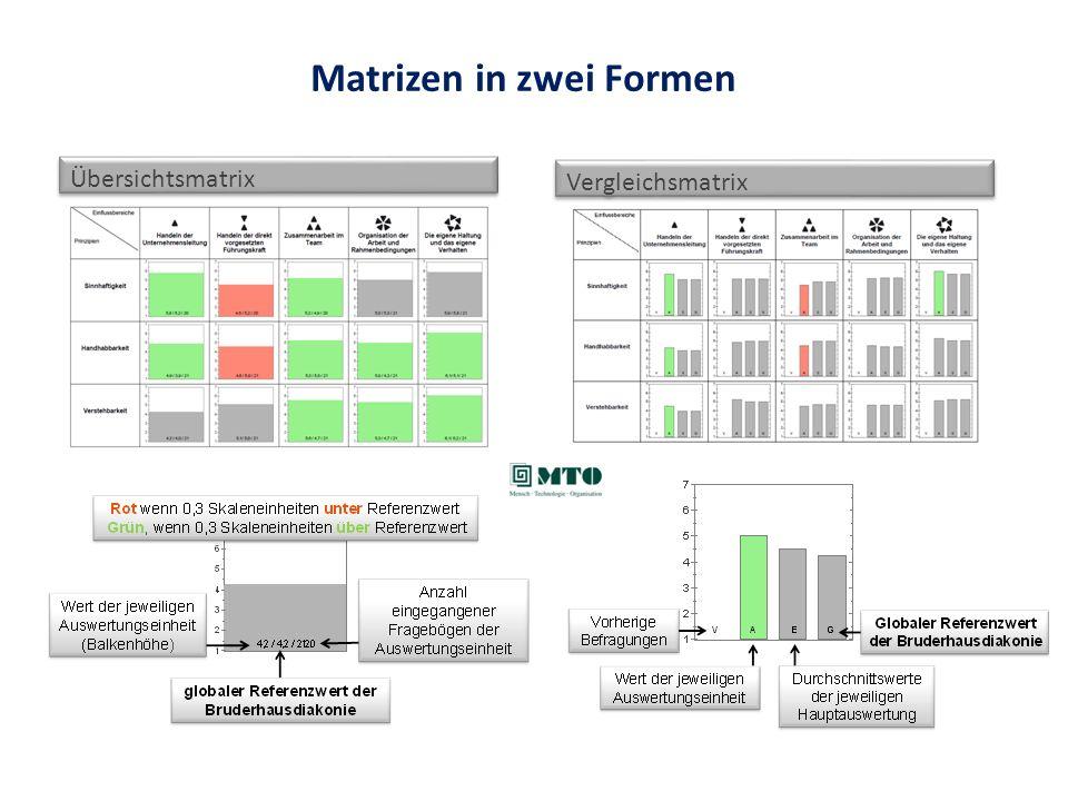 Matrizen in zwei Formen Übersichtsmatrix Vergleichsmatrix