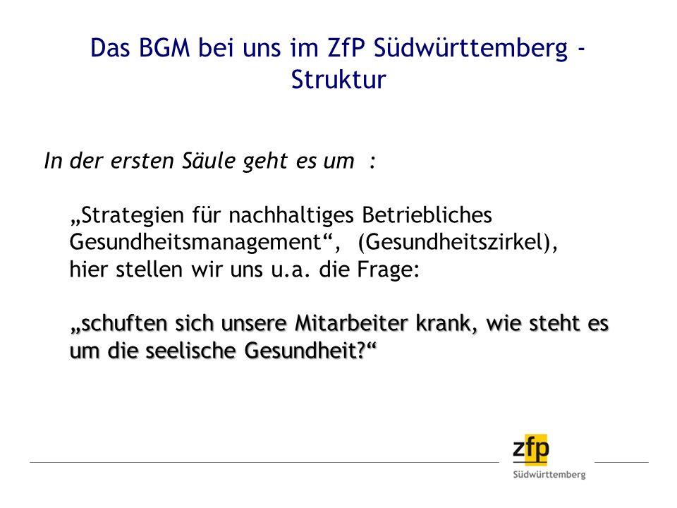Das BGM bei uns im ZfP Südwürttemberg - Struktur schuften sich unsere Mitarbeiter krank, wie steht es um die seelische Gesundheit? In der ersten Säule