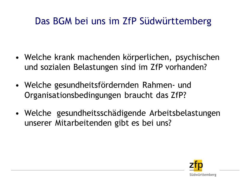 Das BGM bei uns im ZfP Südwürttemberg Welche krank machenden körperlichen, psychischen und sozialen Belastungen sind im ZfP vorhanden? Welche gesundhe