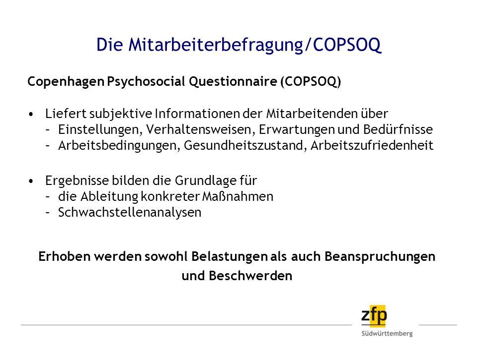 Die Mitarbeiterbefragung/COPSOQ Copenhagen Psychosocial Questionnaire (COPSOQ) Liefert subjektive Informationen der Mitarbeitenden über – Einstellunge