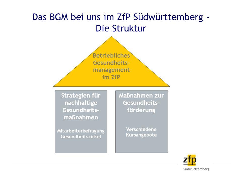 Das BGM bei uns im ZfP Südwürttemberg - Die Struktur Betriebliches Gesundheits- management im ZfP Strategien für nachhaltige Gesundheits- maßnahmen Mi