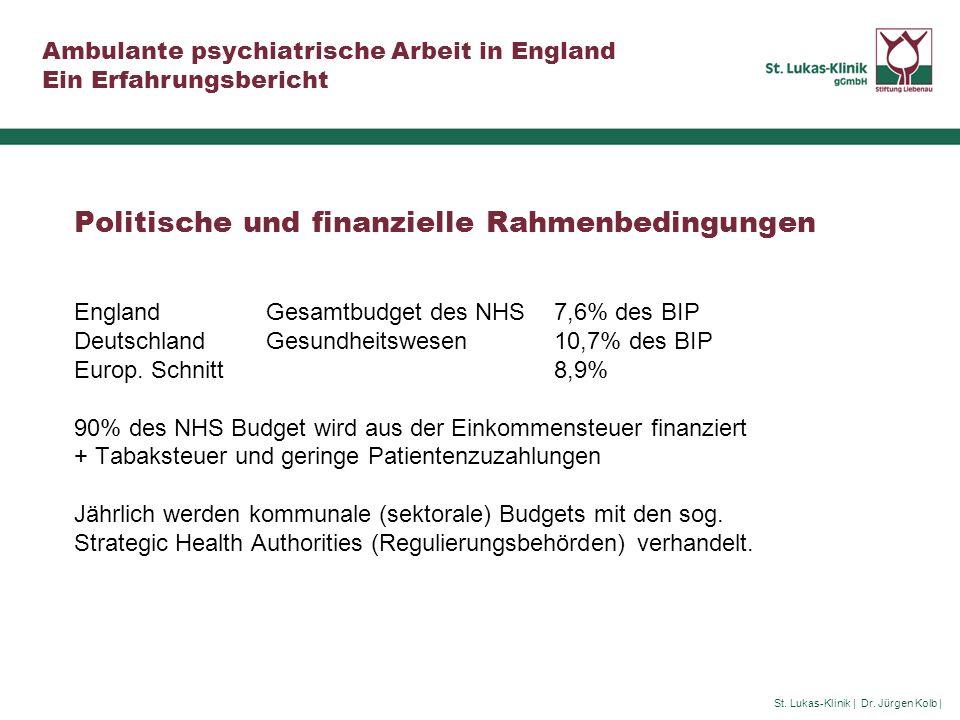 St. Lukas-Klinik | Dr. Jürgen Kolb | Ambulante psychiatrische Arbeit in England Ein Erfahrungsbericht Politische und finanzielle Rahmenbedingungen Eng