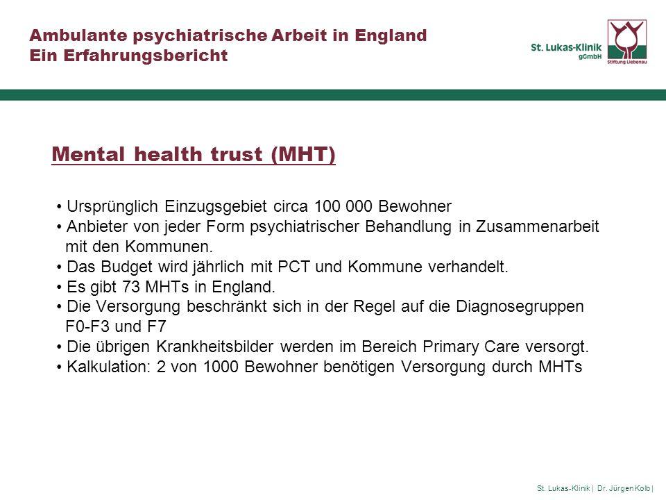 St. Lukas-Klinik | Dr. Jürgen Kolb | Ambulante psychiatrische Arbeit in England Ein Erfahrungsbericht Mental health trust (MHT) Ursprünglich Einzugsge