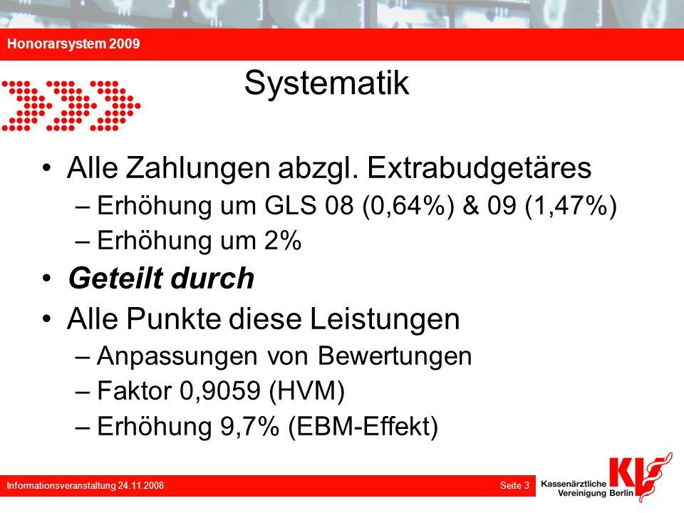 Honorarsystem 2009 Informationsveranstaltung 24.11.2008 Seite 3 Systematik Alle Zahlungen abzgl. Extrabudgetäres –Erhöhung um GLS 08 (0,64%) & 09 (1,4