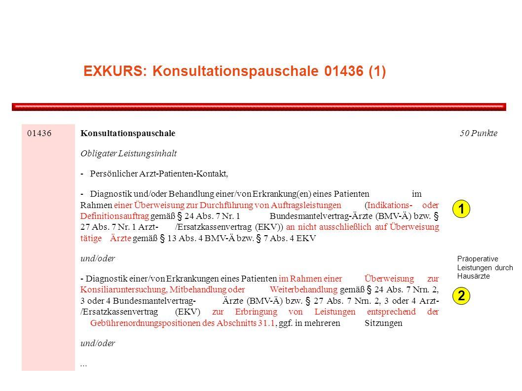 01436 Konsultationspauschale Obligater Leistungsinhalt - Persönlicher Arzt-Patienten-Kontakt, - Diagnostik und/oder Behandlung einer/von Erkrankung(en