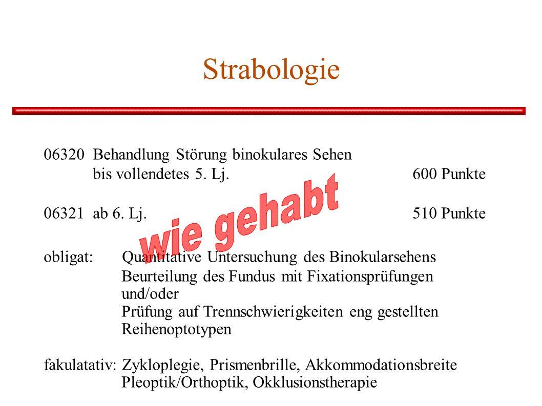 Strabologie 06320Behandlung Störung binokulares Sehen bis vollendetes 5. Lj. 600 Punkte 06321ab 6. Lj. 510 Punkte obligat: Quantitative Untersuchung d