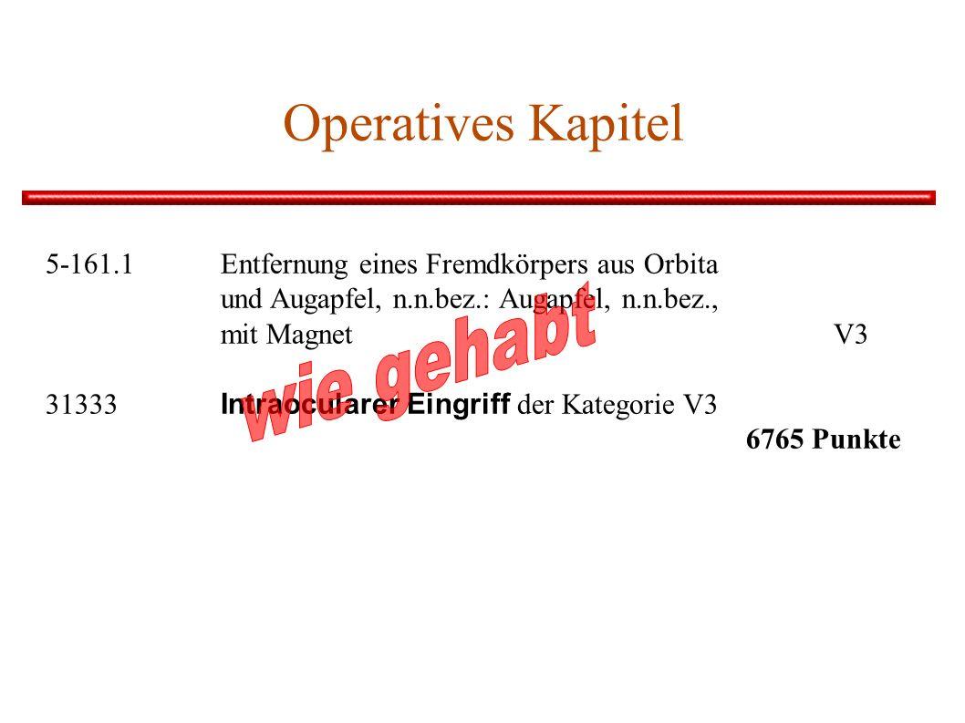 Operatives Kapitel 5-161.1 Entfernung eines Fremdkörpers aus Orbita und Augapfel, n.n.bez.: Augapfel, n.n.bez., mit Magnet V3 31333 Intraocularer Eingriff der Kategorie V3 6765 Punkte
