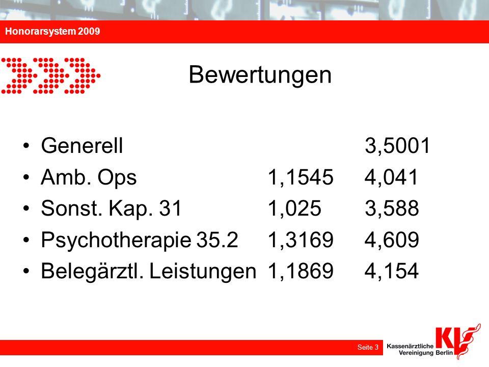 Honorarsystem 2009 Seite 3 Bewertungen Generell 3,5001 Amb. Ops 1,1545 4,041 Sonst. Kap. 31 1,025 3,588 Psychotherapie 35.2 1,3169 4,609 Belegärztl. L