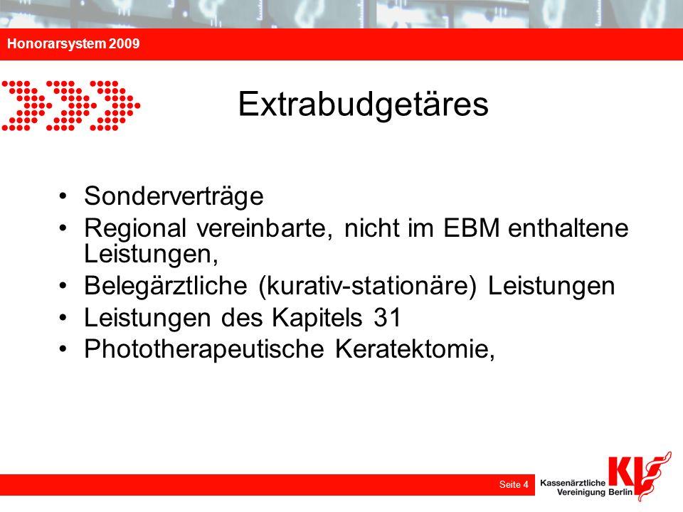 Honorarsystem 2009 Seite 4 Extrabudgetäres Sonderverträge Regional vereinbarte, nicht im EBM enthaltene Leistungen, Belegärztliche (kurativ-stationäre