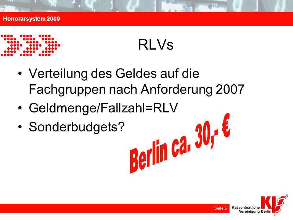 Honorarsystem 2009 Seite 6 RLVs Verteilung des Geldes auf die Fachgruppen nach Anforderung 2007 Geldmenge/Fallzahl=RLV Sonderbudgets?