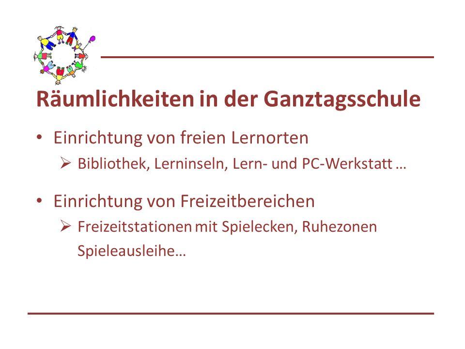 Räumlichkeiten in der Ganztagsschule Einrichtung von freien Lernorten Bibliothek, Lerninseln, Lern- und PC-Werkstatt … Einrichtung von Freizeitbereich
