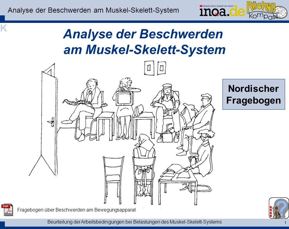Beurteilung der Arbeitsbedingungen bei Belastungen des Muskel-Skelett-Systems 1 Analyse der Beschwerden am Muskel-Skelett-System Nordischer Fragebogen Fragebogen über Beschwerden am Bewegungsapparat K
