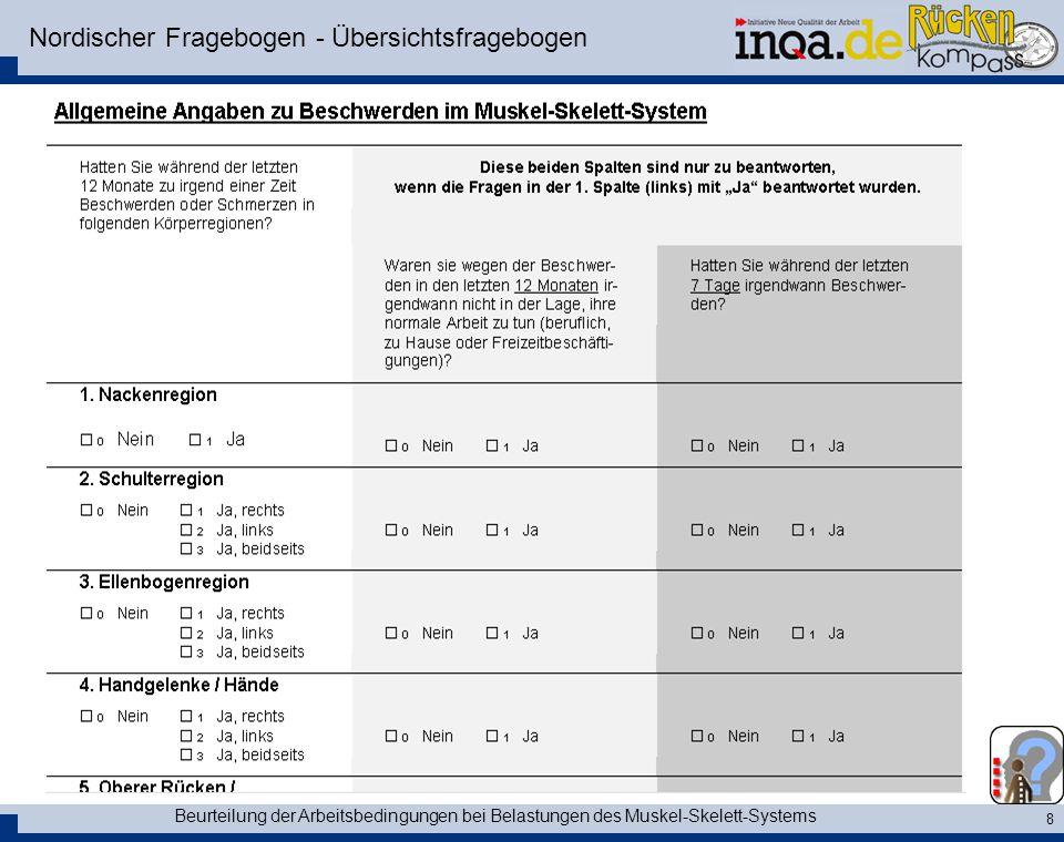 Beurteilung der Arbeitsbedingungen bei Belastungen des Muskel-Skelett-Systems 8 Nordischer Fragebogen - Übersichtsfragebogen