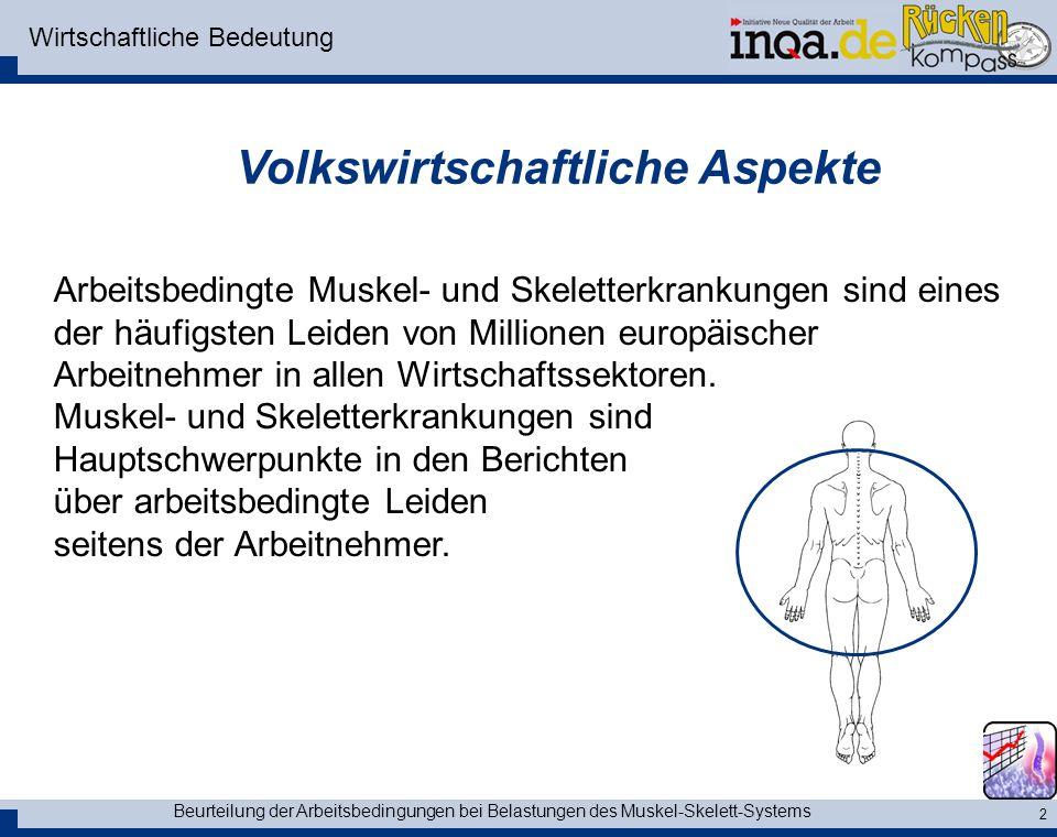 Beurteilung der Arbeitsbedingungen bei Belastungen des Muskel-Skelett-Systems 2 Wirtschaftliche Bedeutung Arbeitsbedingte Muskel- und Skeletterkrankungen sind eines der häufigsten Leiden von Millionen europäischer Arbeitnehmer in allen Wirtschaftssektoren.