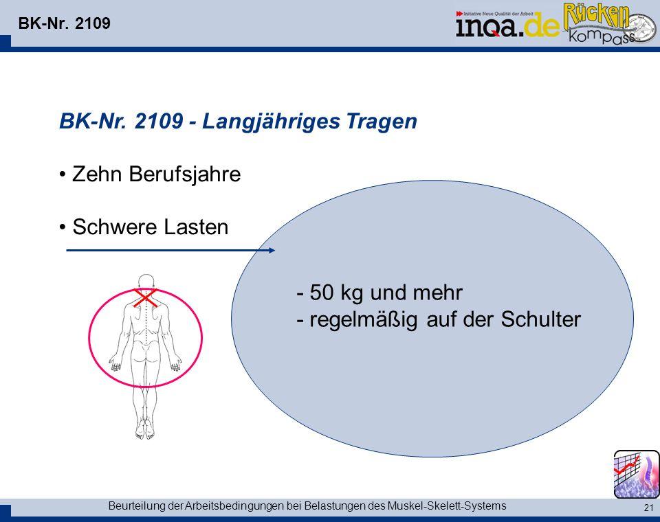 Beurteilung der Arbeitsbedingungen bei Belastungen des Muskel-Skelett-Systems 21 BK-Nr.