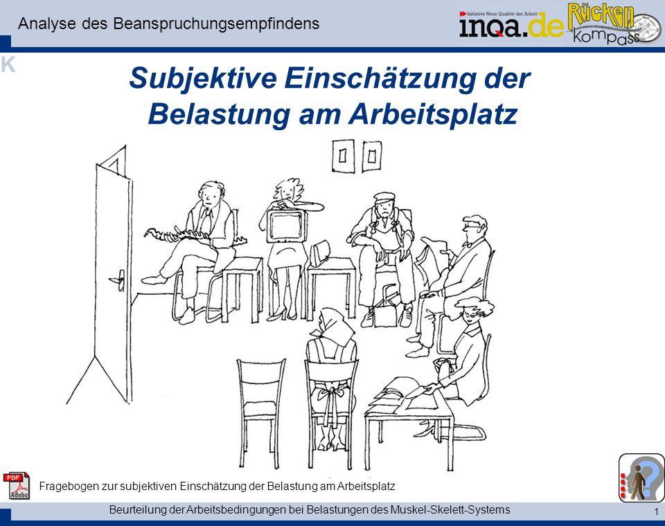 Beurteilung der Arbeitsbedingungen bei Belastungen des Muskel-Skelett-Systems 1 Analyse des Beanspruchungsempfindens Subjektive Einschätzung der Belas
