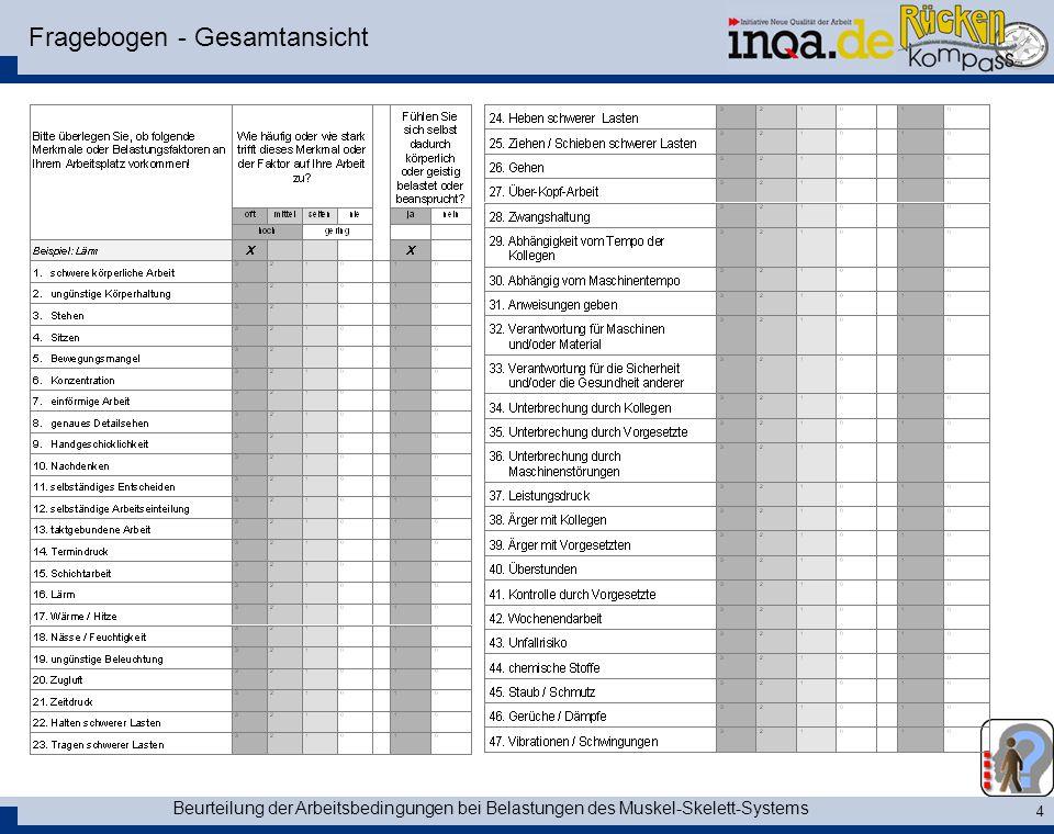 Beurteilung der Arbeitsbedingungen bei Belastungen des Muskel-Skelett-Systems 4 Fragebogen - Gesamtansicht