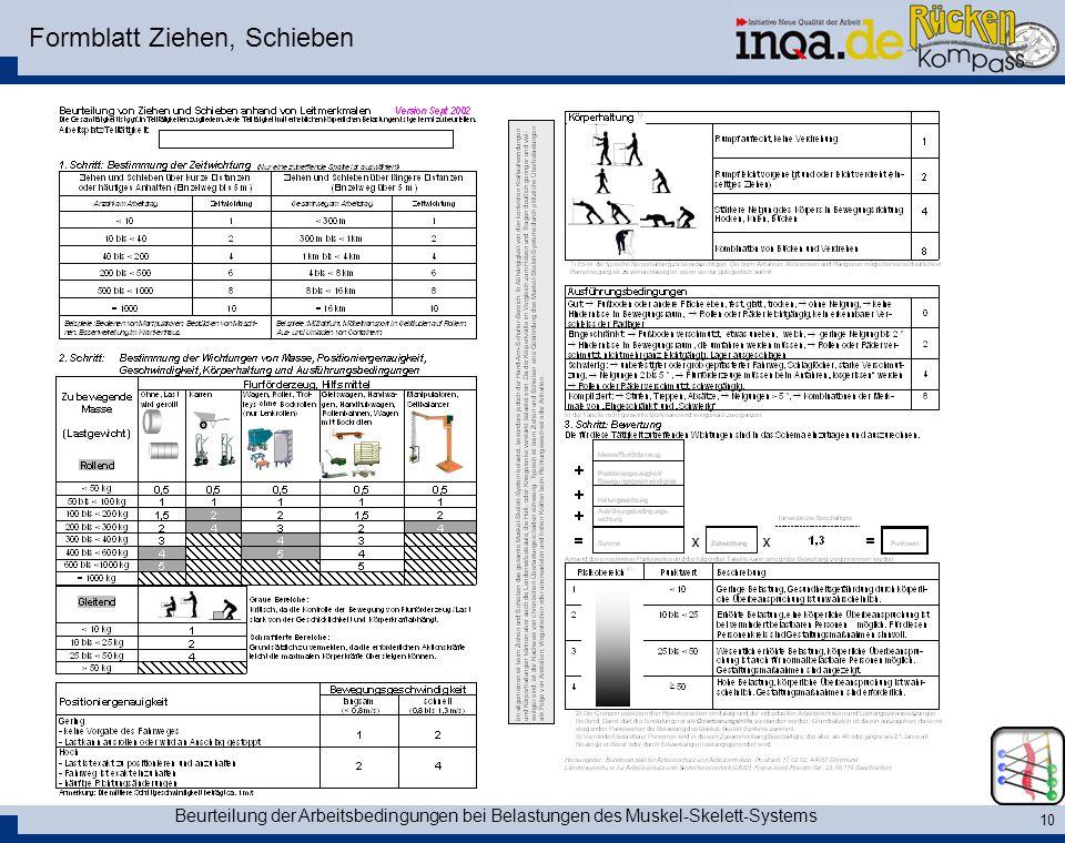 Beurteilung der Arbeitsbedingungen bei Belastungen des Muskel-Skelett-Systems 10 Formblatt Ziehen, Schieben