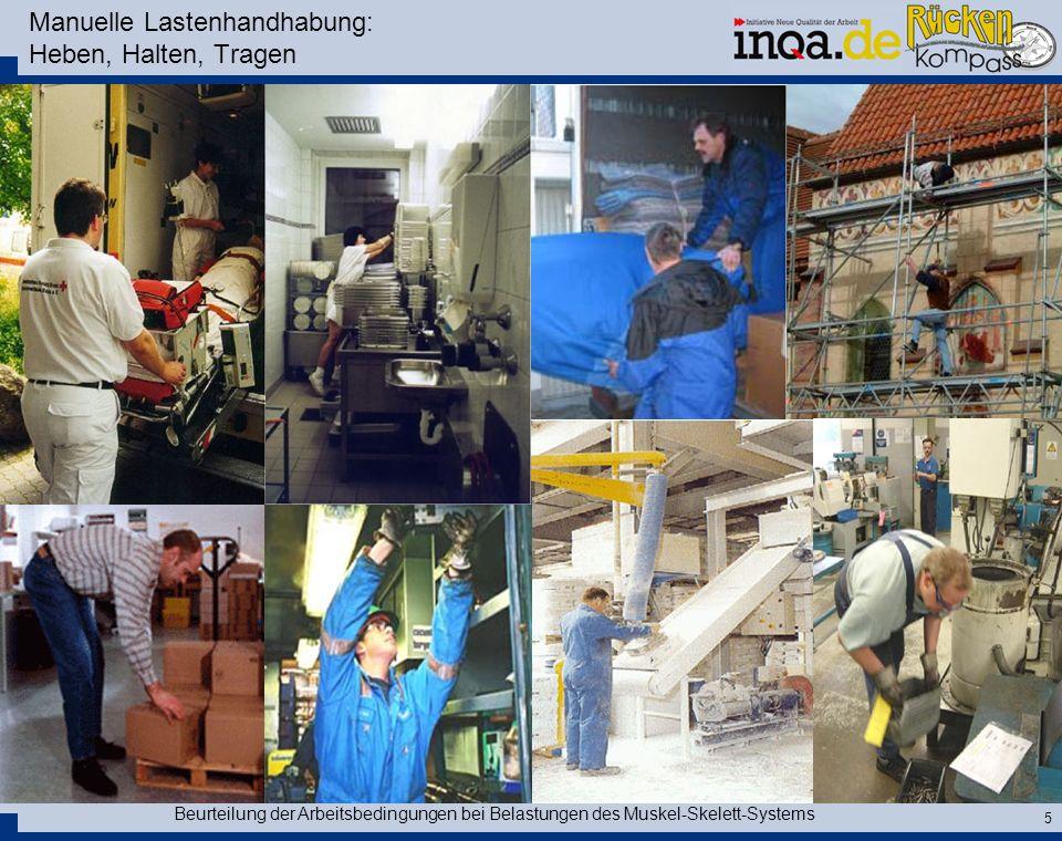 Beurteilung der Arbeitsbedingungen bei Belastungen des Muskel-Skelett-Systems 5 Manuelle Lastenhandhabung: Heben, Halten, Tragen