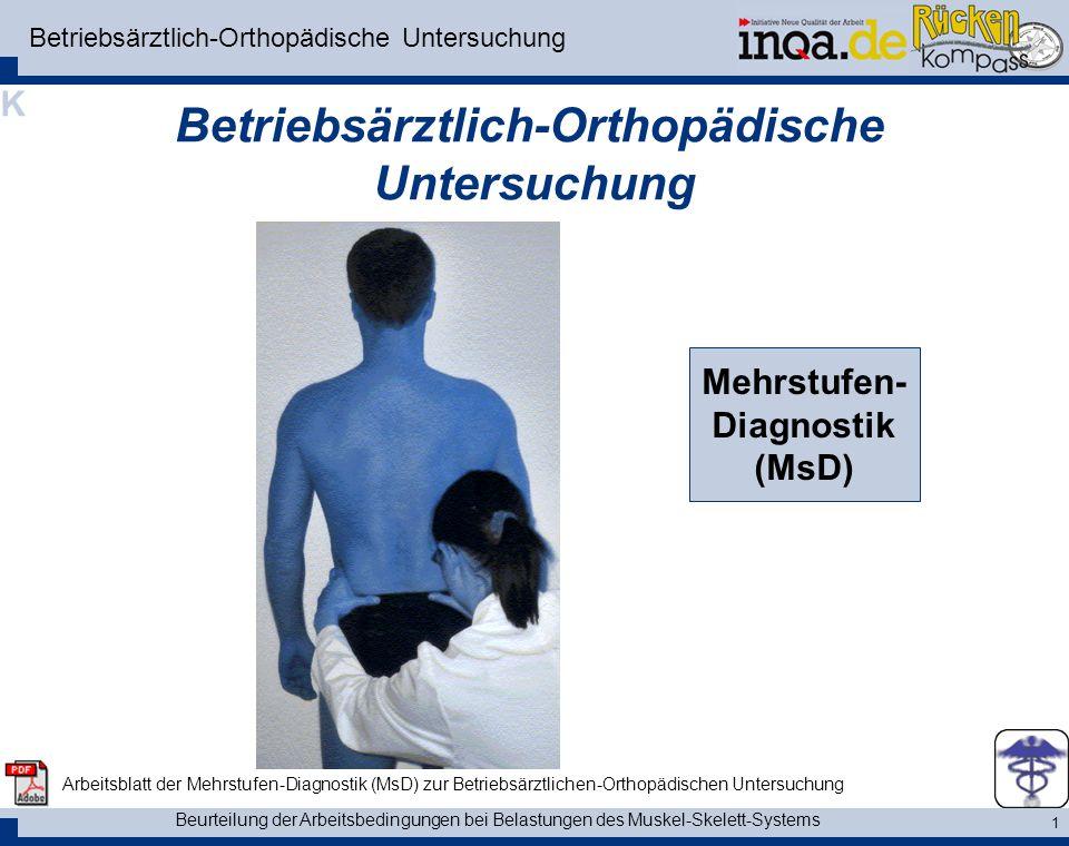 Beurteilung der Arbeitsbedingungen bei Belastungen des Muskel-Skelett-Systems 2 die Mehrstufen-Diagnostik - MsD Die Mehrstufen-Diagnostik - MSD Die Mehrstufendiagnostik ist ein ärztliches Instrument zur ortho- pädischen Untersuchung des Muskel-Skelett-Systems.