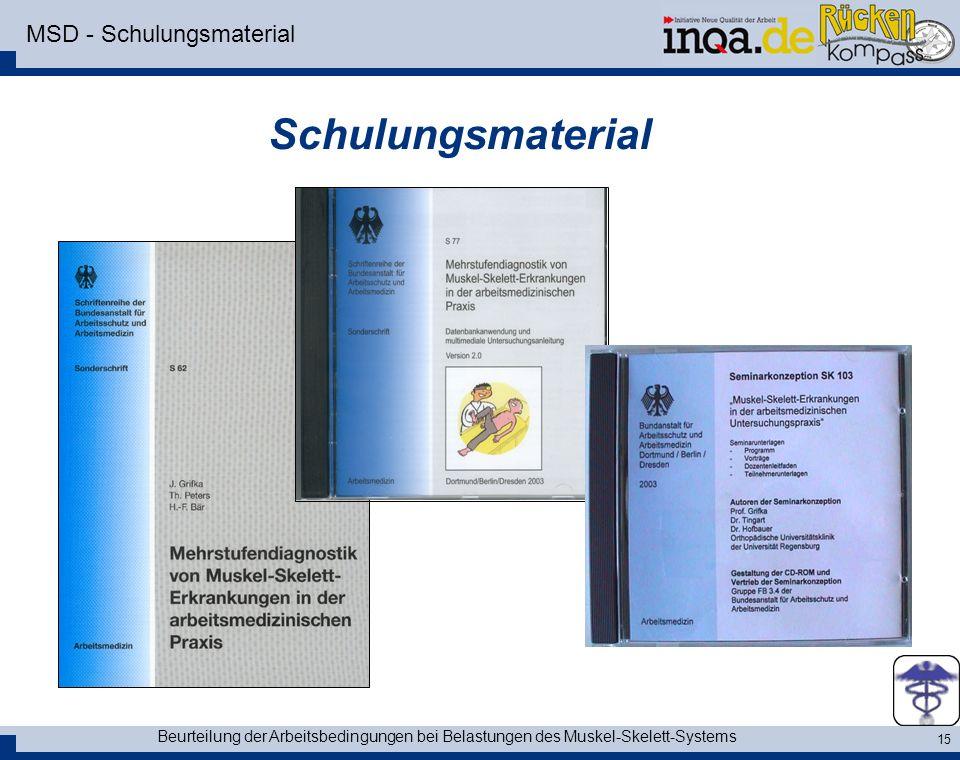 Beurteilung der Arbeitsbedingungen bei Belastungen des Muskel-Skelett-Systems 15 MSD - Schulungsmaterial Schulungsmaterial
