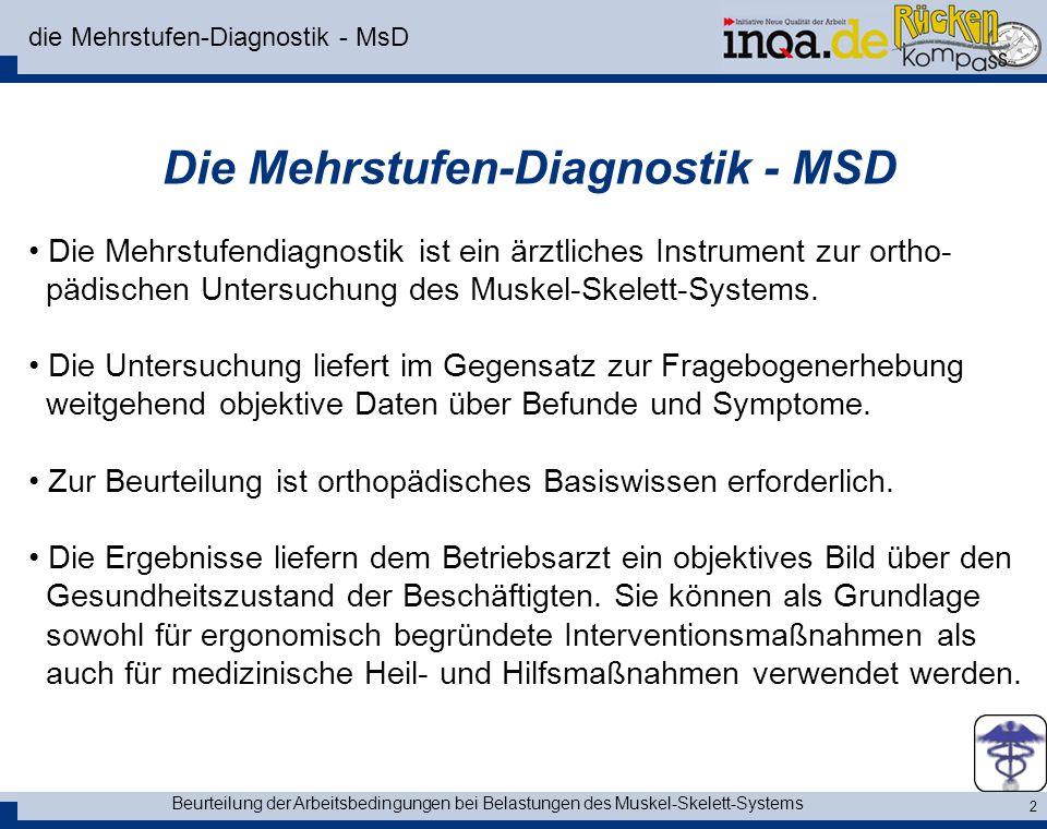 Beurteilung der Arbeitsbedingungen bei Belastungen des Muskel-Skelett-Systems 2 die Mehrstufen-Diagnostik - MsD Die Mehrstufen-Diagnostik - MSD Die Me