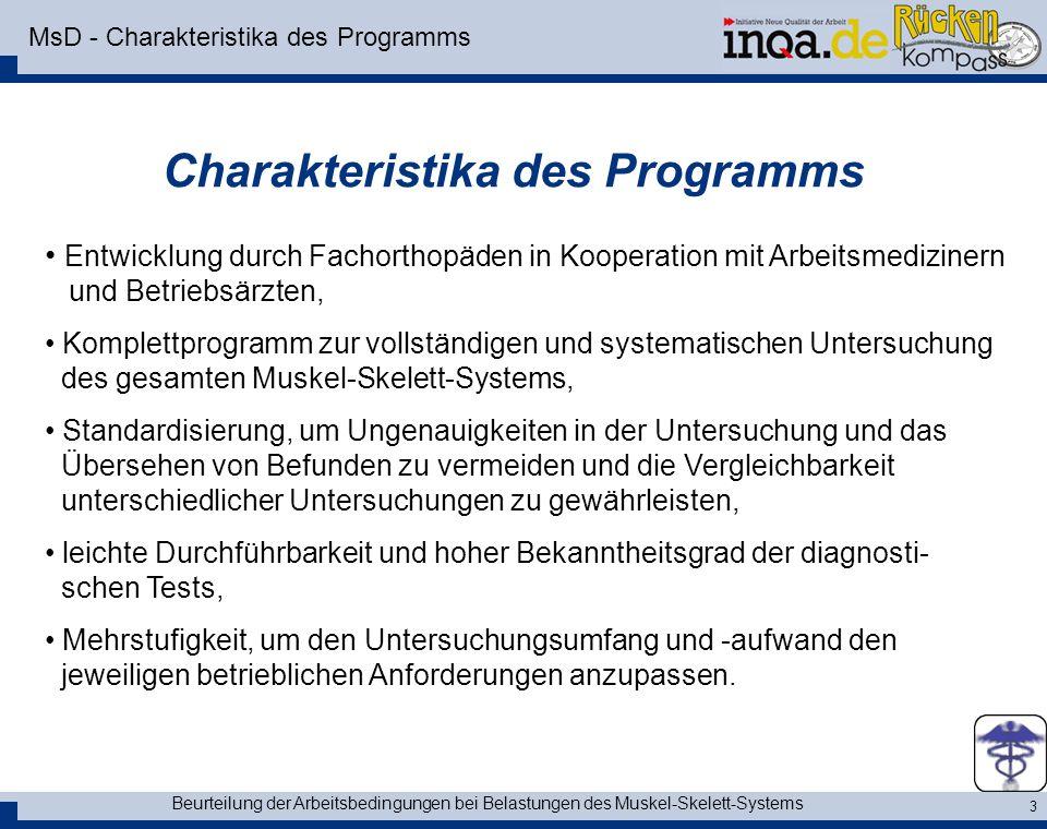 Beurteilung der Arbeitsbedingungen bei Belastungen des Muskel-Skelett-Systems 3 MsD - Charakteristika des Programms Charakteristika des Programms Entw