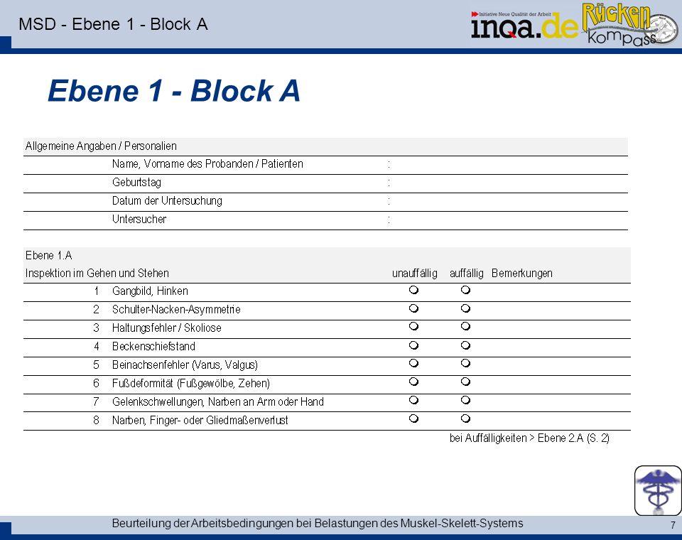 Beurteilung der Arbeitsbedingungen bei Belastungen des Muskel-Skelett-Systems 8 MSD - Ebene 1 - Block B Ebene 1 - Block B