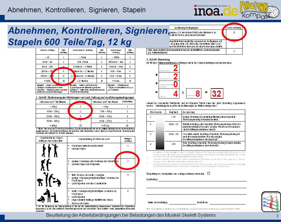 Beurteilung der Arbeitsbedingungen bei Belastungen des Muskel-Skelett-Systems 3 Abnehmen, Kontrollieren, Signieren, Stapeln Abnehmen, Kontrollieren, S