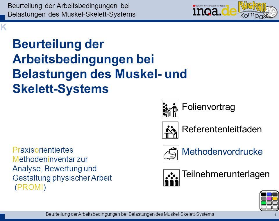 Beurteilung der Arbeitsbedingungen bei Belastungen des Muskel-Skelett-Systems 1 Beurteilung der Arbeitsbedingungen bei Belastungen des Muskel- und Ske