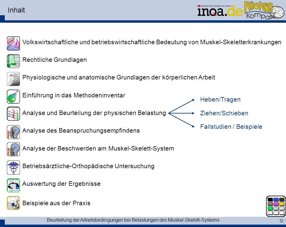 Beurteilung der Arbeitsbedingungen bei Belastungen des Muskel-Skelett-Systems 12 Inhalt Volkswirtschaftliche und betriebswirtschaftliche Bedeutung von