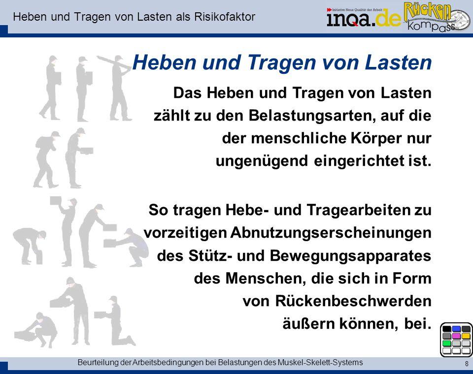 Beurteilung der Arbeitsbedingungen bei Belastungen des Muskel-Skelett-Systems 8 Heben und Tragen von Lasten als Risikofaktor Heben und Tragen von Last