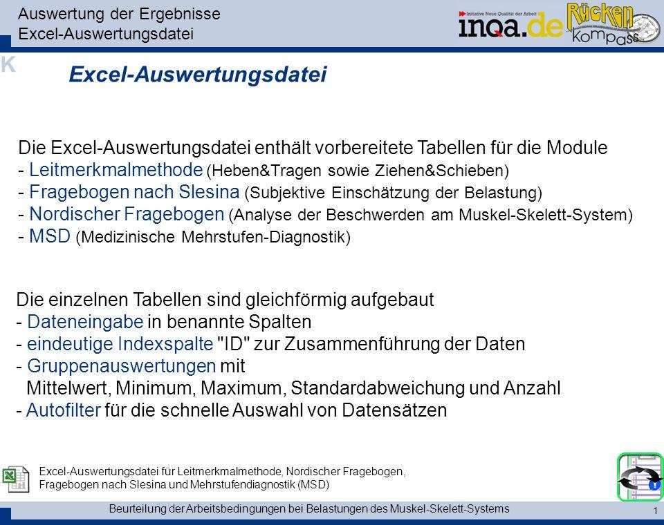 Beurteilung der Arbeitsbedingungen bei Belastungen des Muskel-Skelett-Systems 1 Auswertung der Ergebnisse Excel-Auswertungsdatei Excel-Auswertungsdate