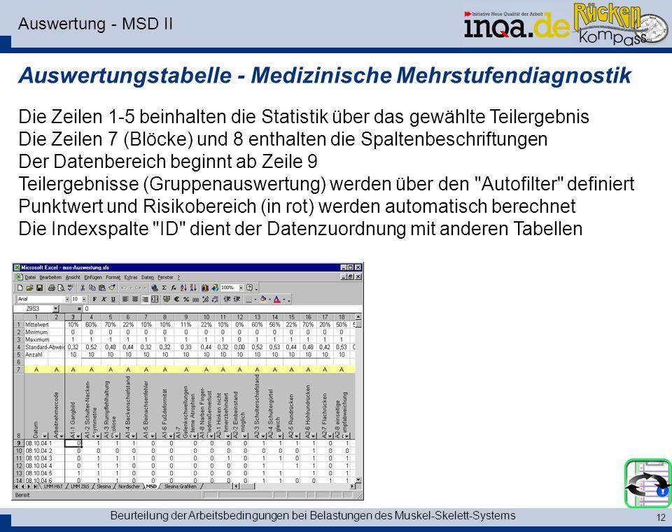 Beurteilung der Arbeitsbedingungen bei Belastungen des Muskel-Skelett-Systems 12 Auswertung - MSD II Auswertungstabelle - Medizinische Mehrstufendiagn