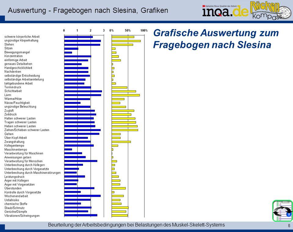 Beurteilung der Arbeitsbedingungen bei Belastungen des Muskel-Skelett-Systems 8 Auswertung - Fragebogen nach Slesina, Grafiken Grafische Auswertung zu