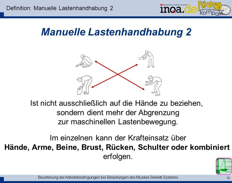 Beurteilung der Arbeitsbedingungen bei Belastungen des Muskel-Skelett-Systems 10 Definition: Manuelle Lastenhandhabung 2 Manuelle Lastenhandhabung 2 I