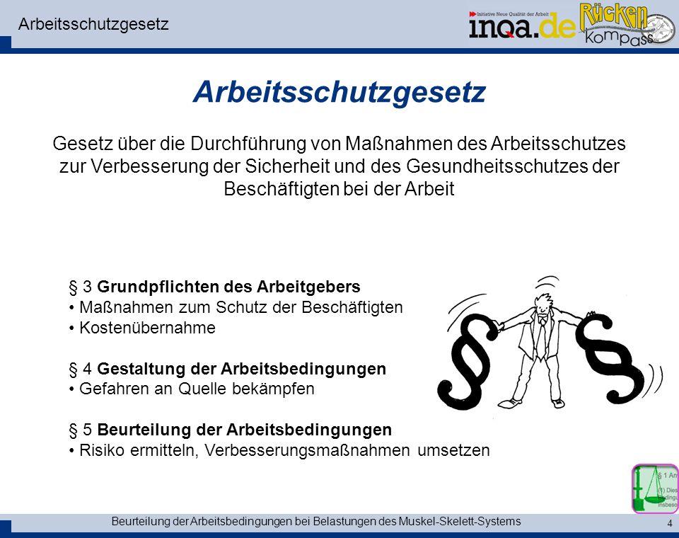 Beurteilung der Arbeitsbedingungen bei Belastungen des Muskel-Skelett-Systems 5 Mutterschutzgesetz § 4 5 kg - Grenze....